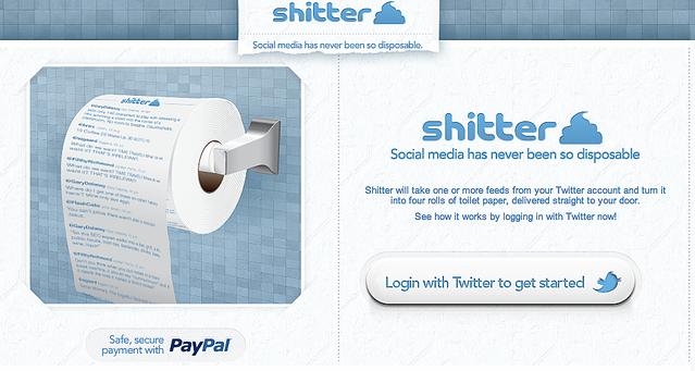 Twitterのつぶやきでおしりをふいてみる? おもしろサービス「shitter」